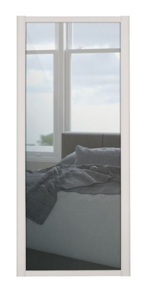 Shaker Sliding Wardrobe Door- CASHMERE FRAME- MIRROR SINGLE PANEL